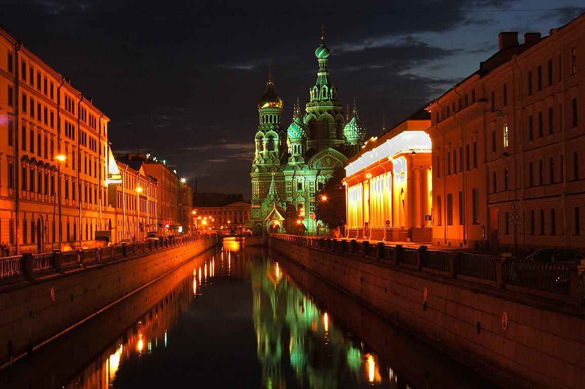 Church of Savior on Blood, Benois Building...Canal at night. St.Petersburg, Russia