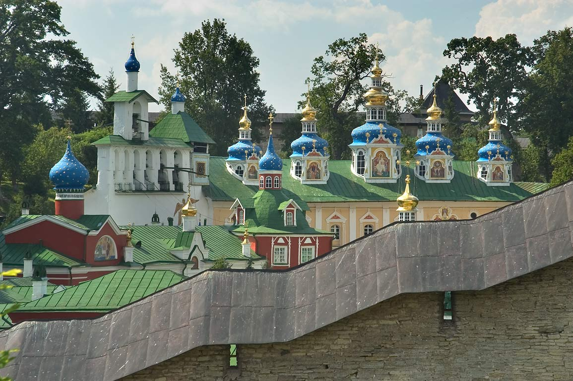 Pskov-Pechory Monastery of the caves, view from a tourist overlook. Pechory, Russia