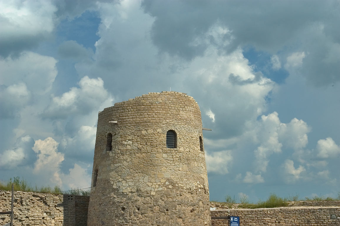 The tower of Lukovka of the ancient fortress Izborsk. Russia