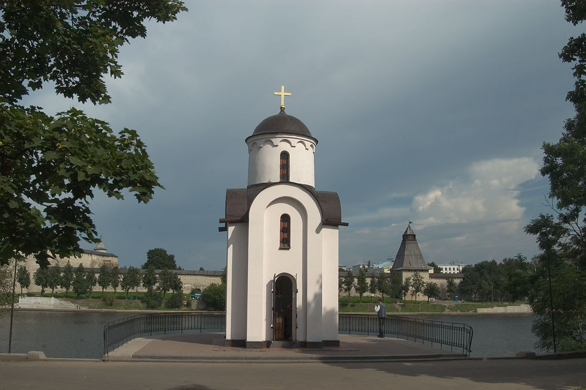 Olginskaya Chapel recently built in Zavelichye. Pskov, Russia