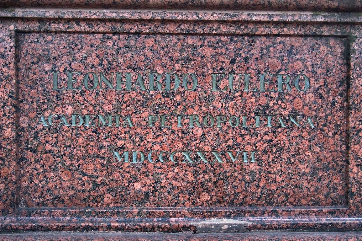 Inscription on a tomb of a mathematician Leonhard...Nevsky Lavra. St.Petersburg, Russia