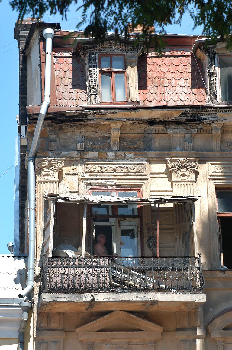 Balconies of old houses on Preobrazhenskaya Street. Odessa, Ukraine