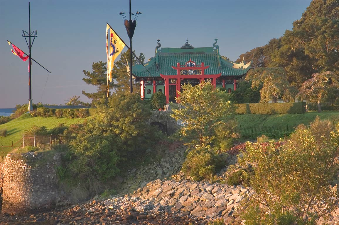 The Chinese Tea house from Cliff Walk trail in Newport at morning. Rhode Island