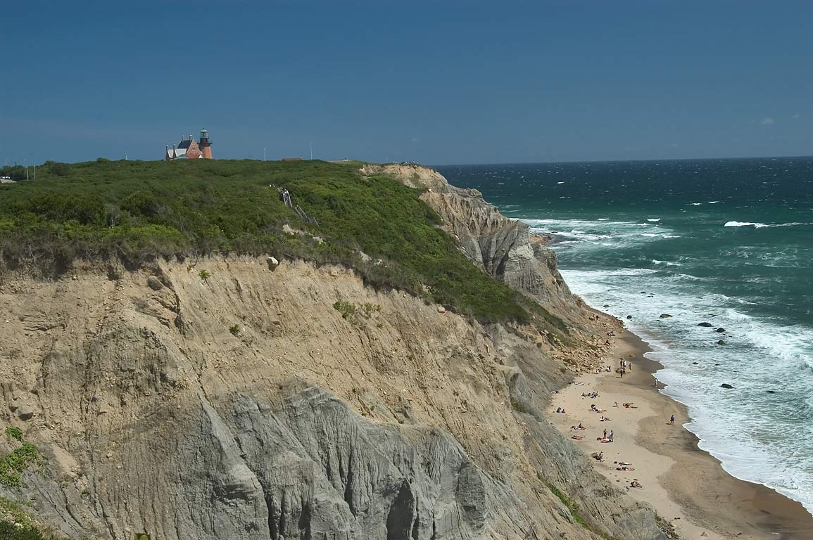 Mohegan Bluffs and Southeast Lighthouse in Block Island. New Shoreham, Rhode Island
