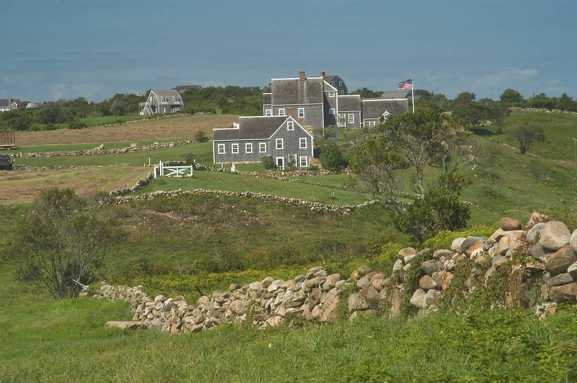 Farms east from Black Rock Point in Block Island. New Shoreham, Rhode Island