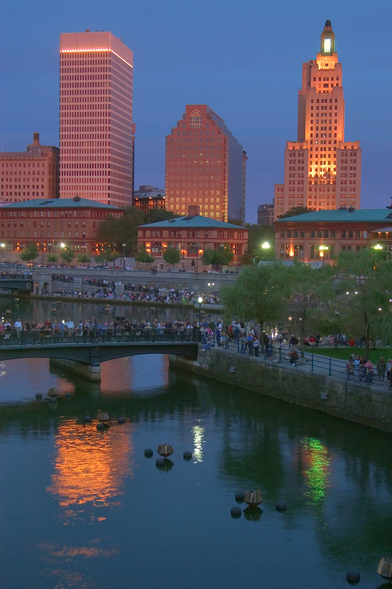 People waiting Waterfire show at Waterplace Park and Riverwalk. Providence, Rhode Island