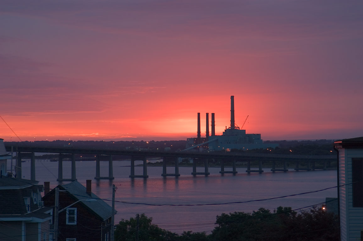 Taunton River, Braga Bridge and Brayton Point...at evening. Fall River, Massachusetts