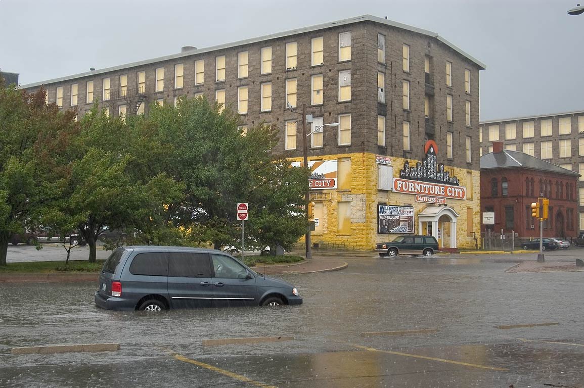 A Mill And Flooded Pleasant St.. Fall River .