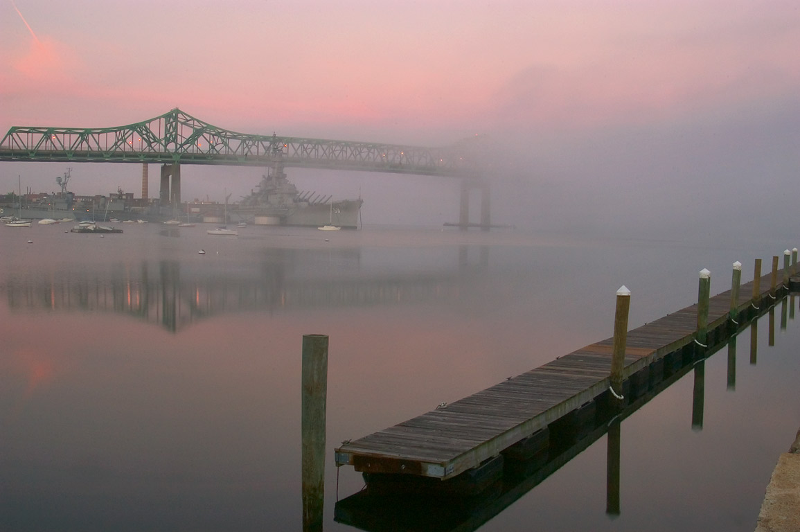 Battleship Cove in Fall River at morning. Massachusetts