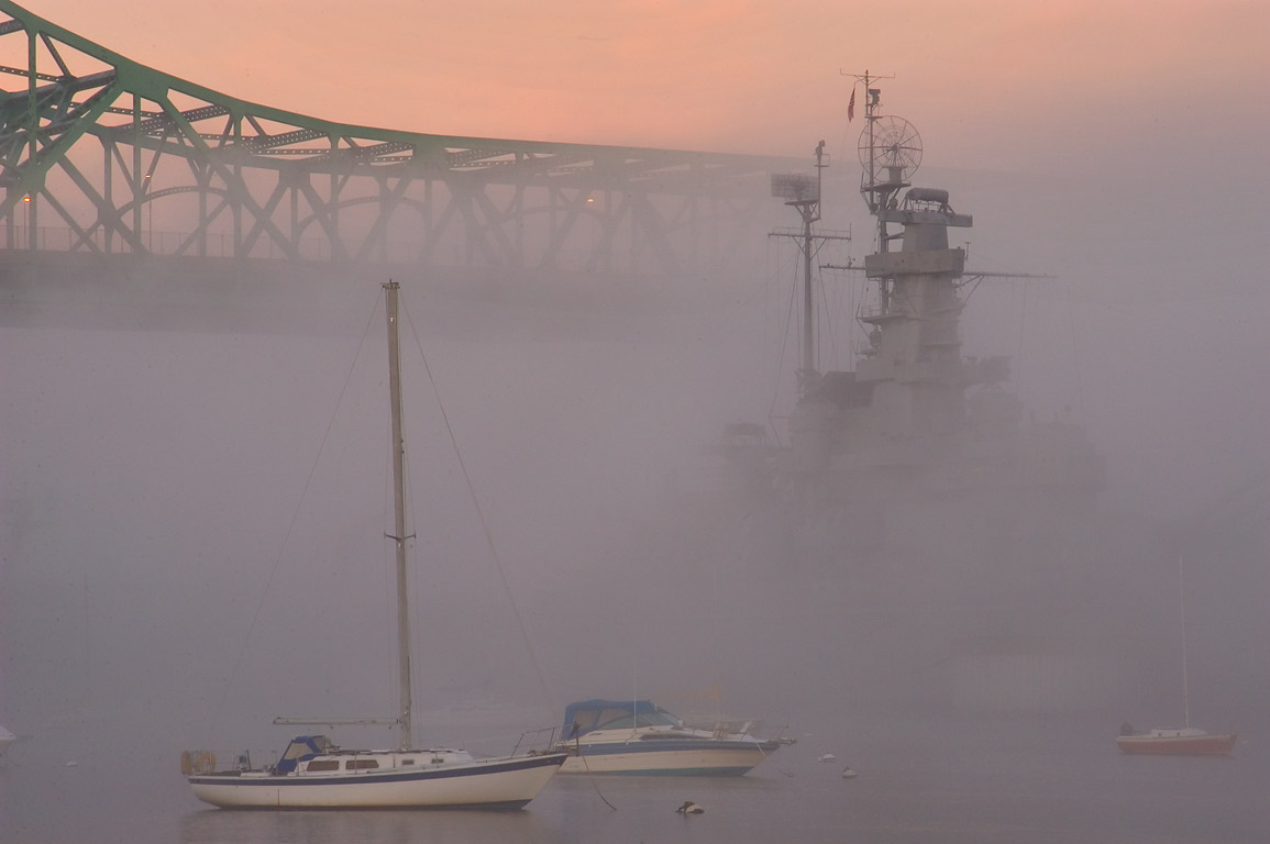 View from Battleship Cove park, in fog at morning. Fall River, Massachusetts