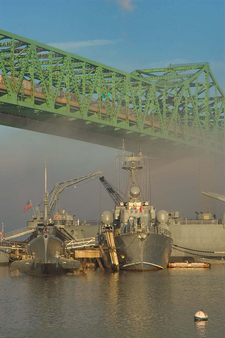 Battleship Cove park at morning. Fall River, Massachusetts