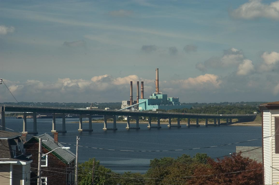 Brayton Point powerplant, Braga Bridge and Mount...District. Fall River, Massachusetts