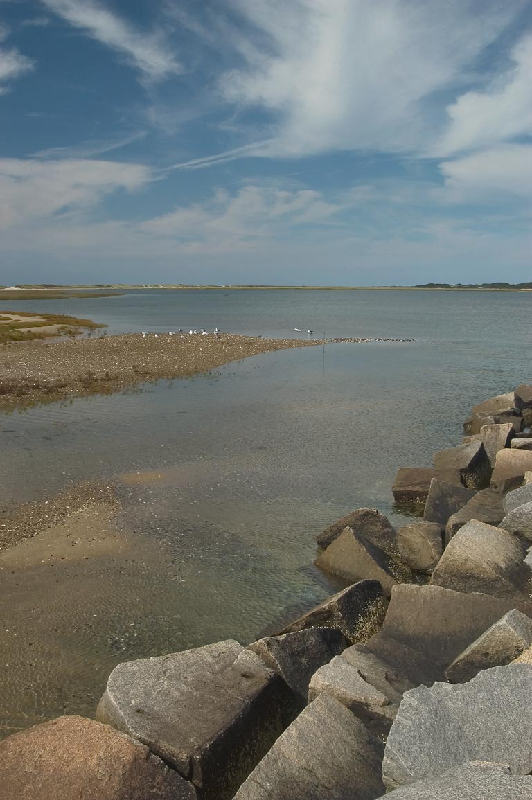 View from the dike of Provincetown Harbor in Cape Cod. Massachusetts