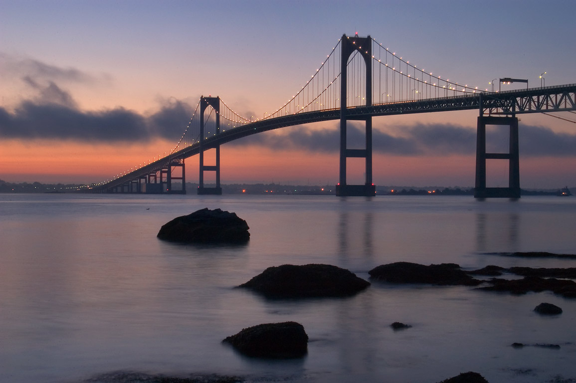 Newport Bridge at morning, view from Taylor Point. Jamestown, Rhode Island