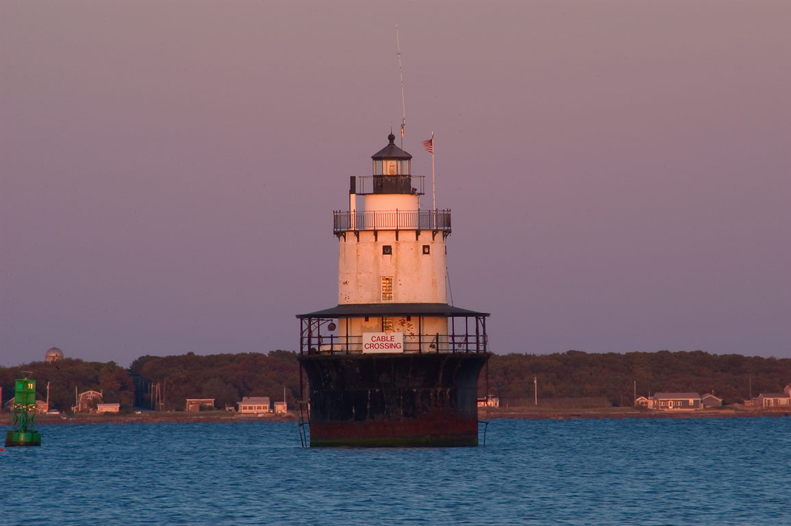 Butler Flats Lighthouse in Buzzards Bay at sunset...Blvd.. New Bedford, Massachusetts