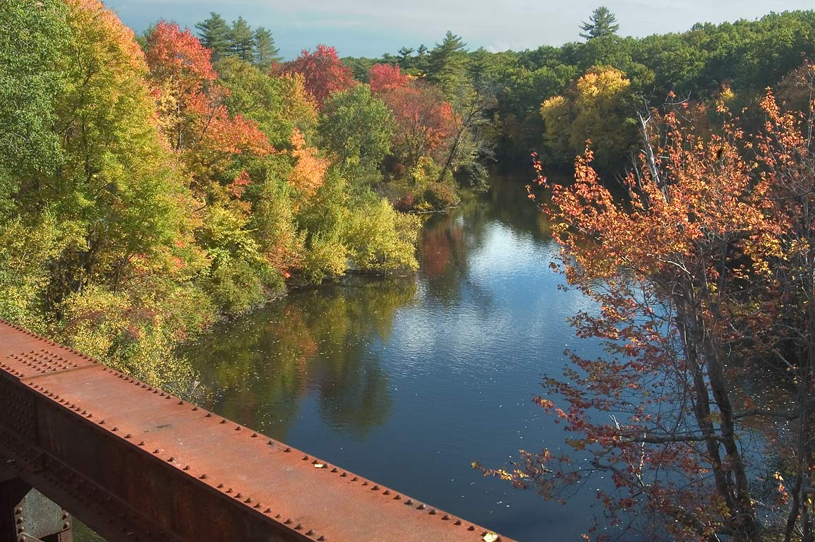 Triad Bridge and Blackstone River. Uxbridge, Rhode Island