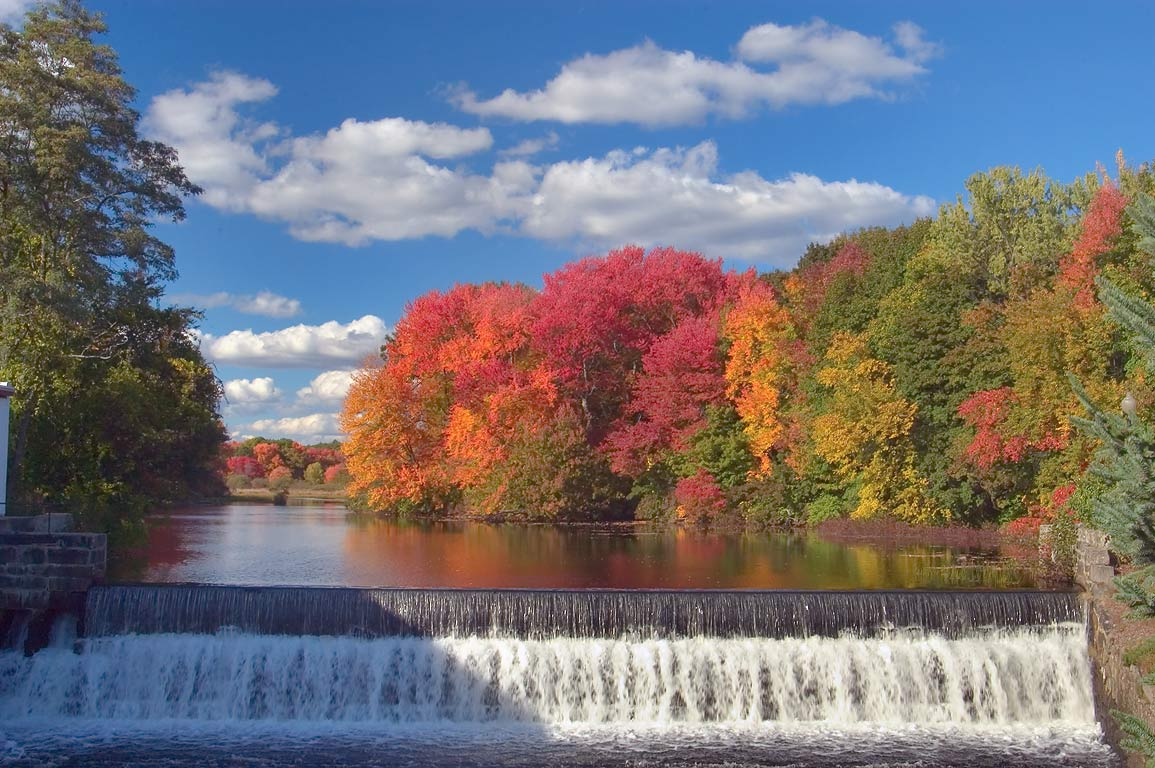 Mumford River Dam in the center of Uxbridge, in...Heritage State Park. Rhode Island