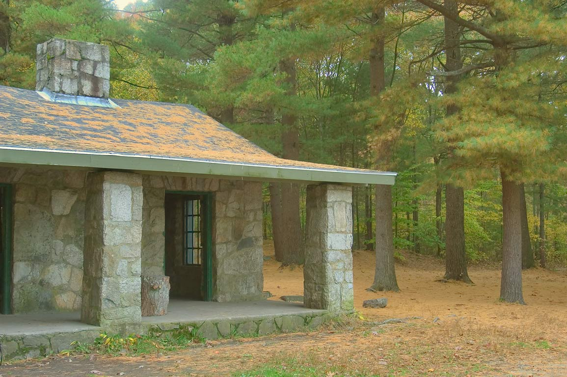 A stone Lodge near Leach Pond and Visitor Center...Park. North Easton, Massachusetts