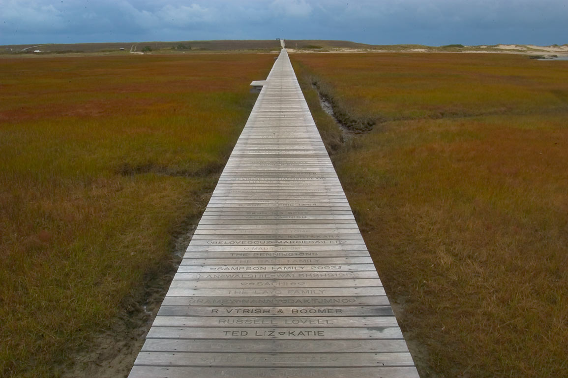 A boardwalk across Mill Creek and Sandwich Marshes in Cape Cod. Sandwich, Massachusetts
