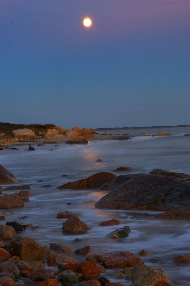 Moonlit tidal flat at the end of River Rd. west from Acoaxet. Westport, Massachusetts