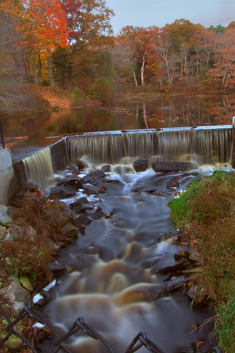 A dam in Russells Mills village, on Paskamansett...O'Dundee Rd.. Dartmouth, Massachusetts