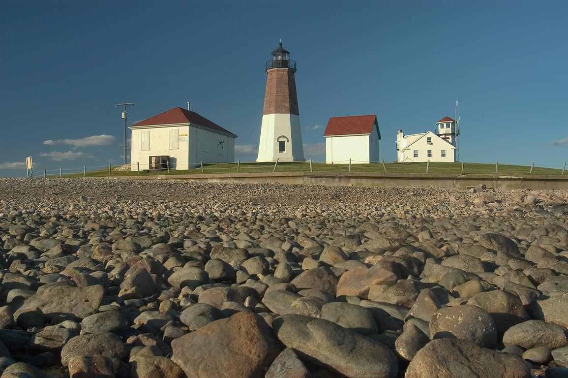 Point Judith Lighthouse at low tide. Narragansett, Rhode Island