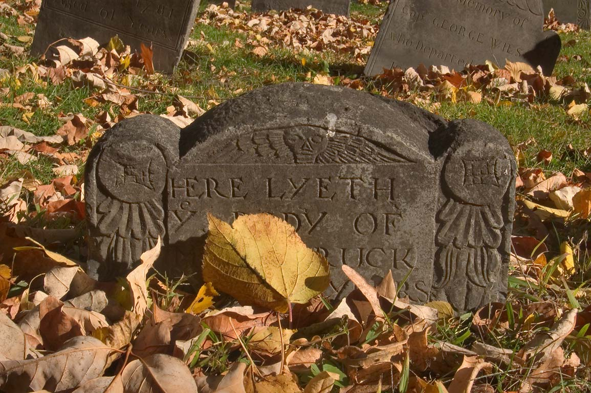 A tombstone of Granary Burying Ground. Boston, Massachusetts