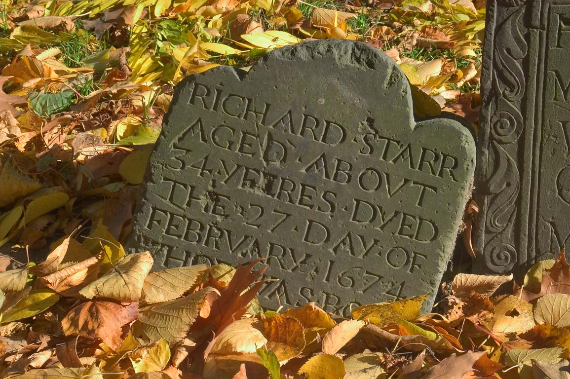 A tombstone of Richard Starr (about 1640 in Granary Burying Ground. Boston, Massachusetts