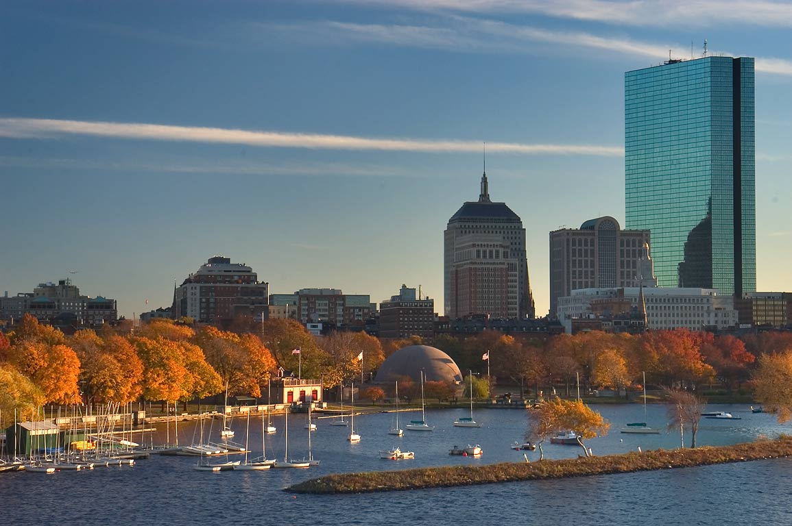 Charles River and Hatch Memorial Shell at evening...Bridge. Boston, Massachusetts