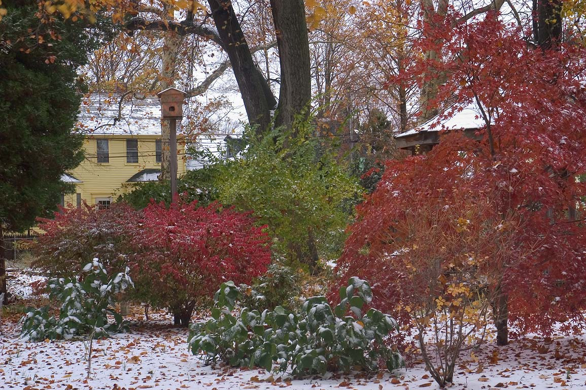 Early snow in the area of Second St., at the Point. Newport, Rhode Island
