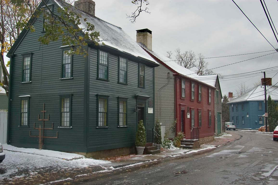 Colonial-era houses near north end of Thames Ave., at the Point. Newport, Rhode Island
