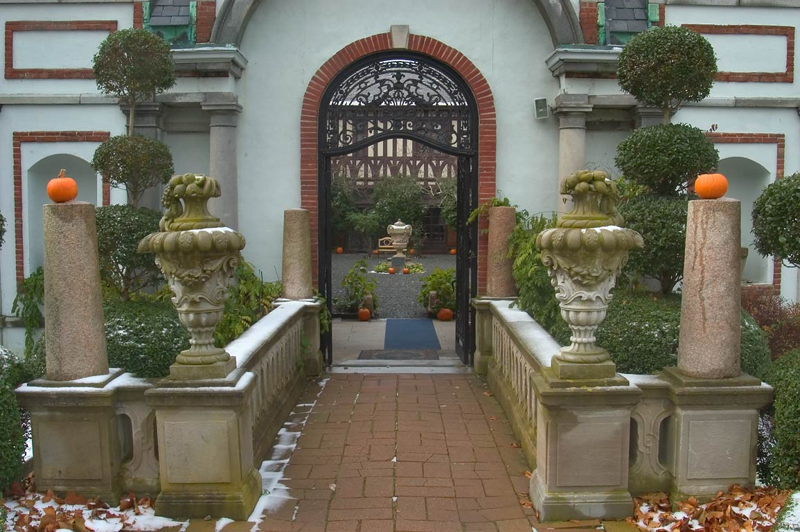 Entrance of courtyard of Belcourt Castle Mansion. Newport, Rhode Island