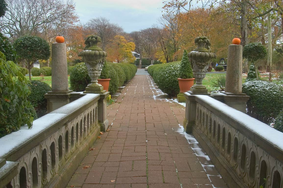 A garden of Belcourt Castle Mansion, view from...entrance. Newport, Rhode Island