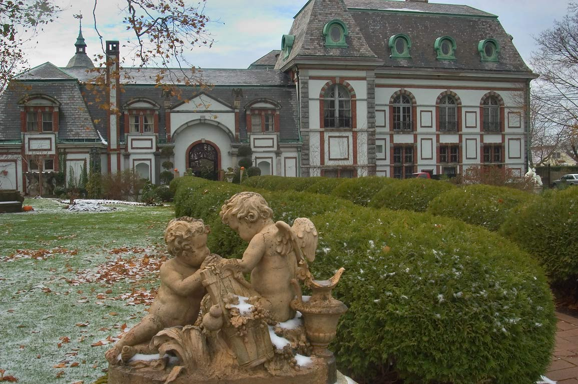 A sculpture in front of Belcourt Castle Mansion. Newport, Rhode Island