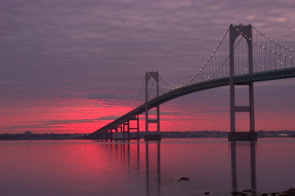 Newport Bridge and Narragansett Bay at sunrise...Taylor Point. Jamestown, Rhode Island