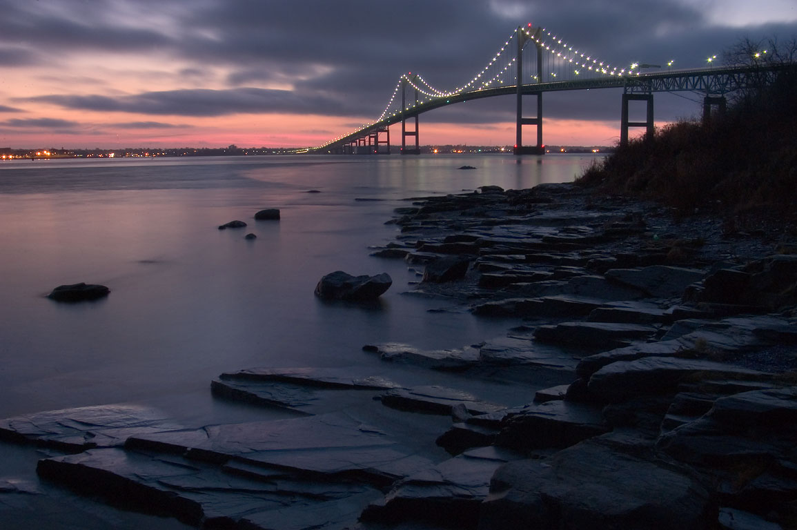 Newport Bridge and East Passage of Narragansett...Taylor Point. Jamestown, Rhode Island