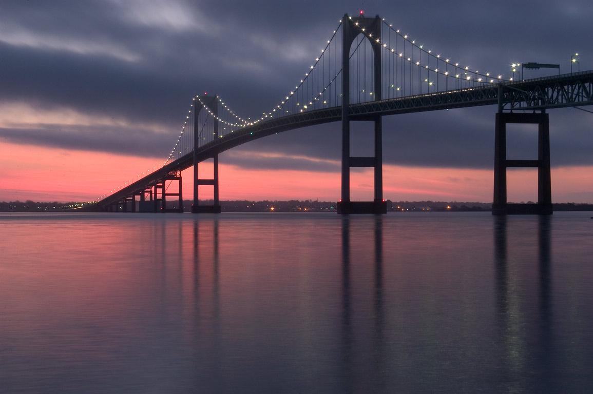 Newport Bridge across Narragansett Bay at sunrise...Taylor Point. Jamestown, Rhode Island