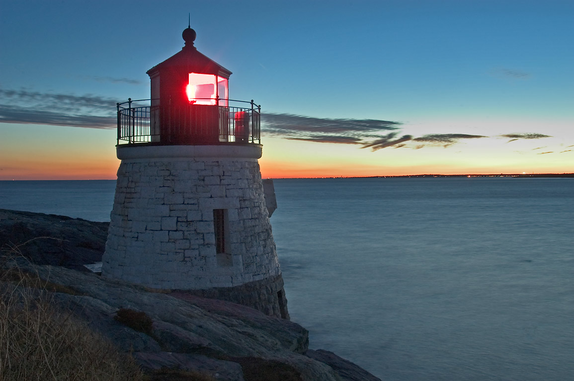 Castle Hill Lighthouse and East Branch of Narragansett Bay. Newport, Rhode Island