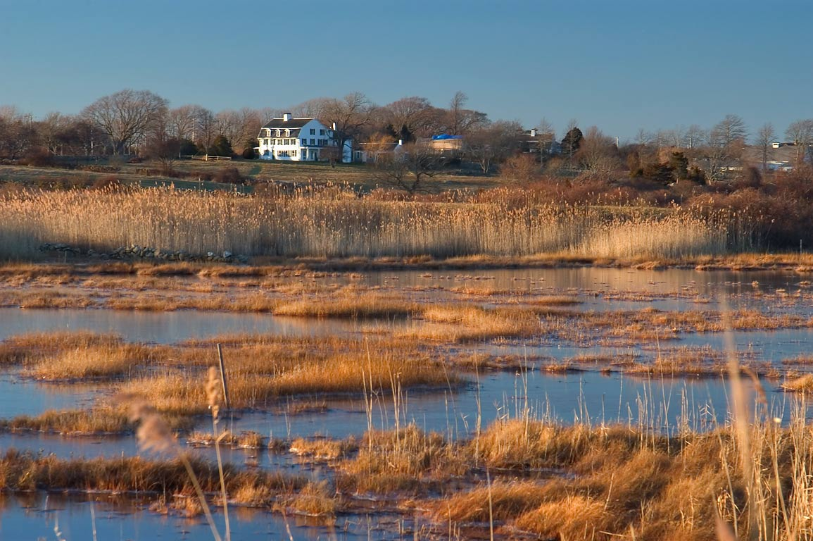Allen's Pond at evening, view from a beach at the...Horseneck Rd.. Westport, Massachusetts