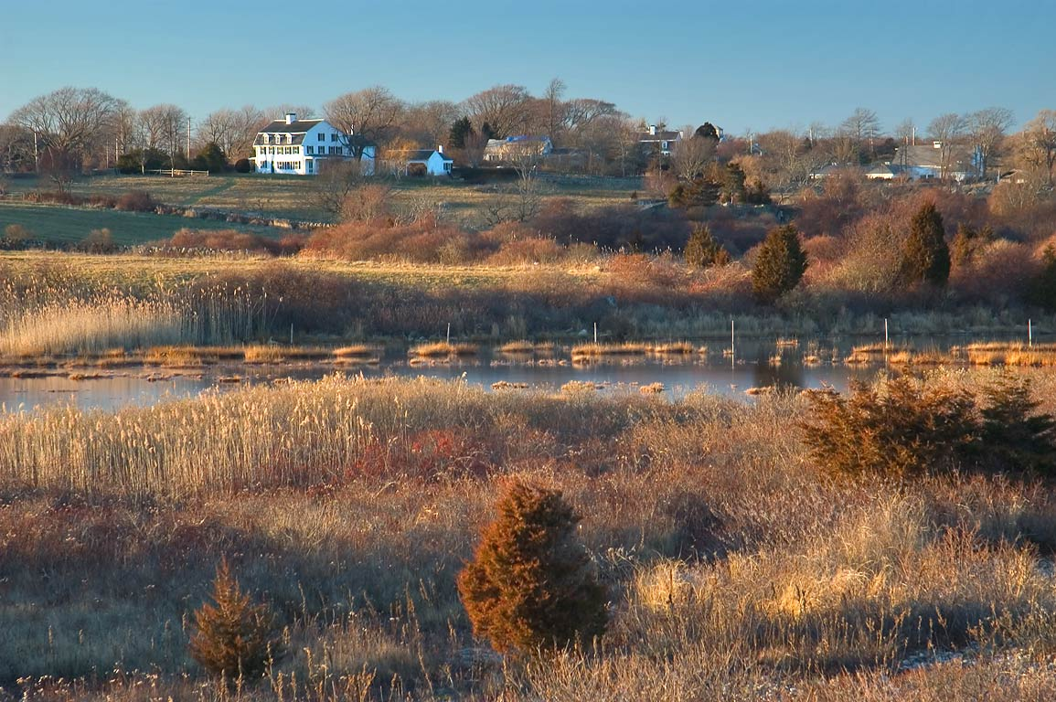 West side of Allen's Pond at evening, view from a...Horseneck Rd.. Westport, Massachusetts