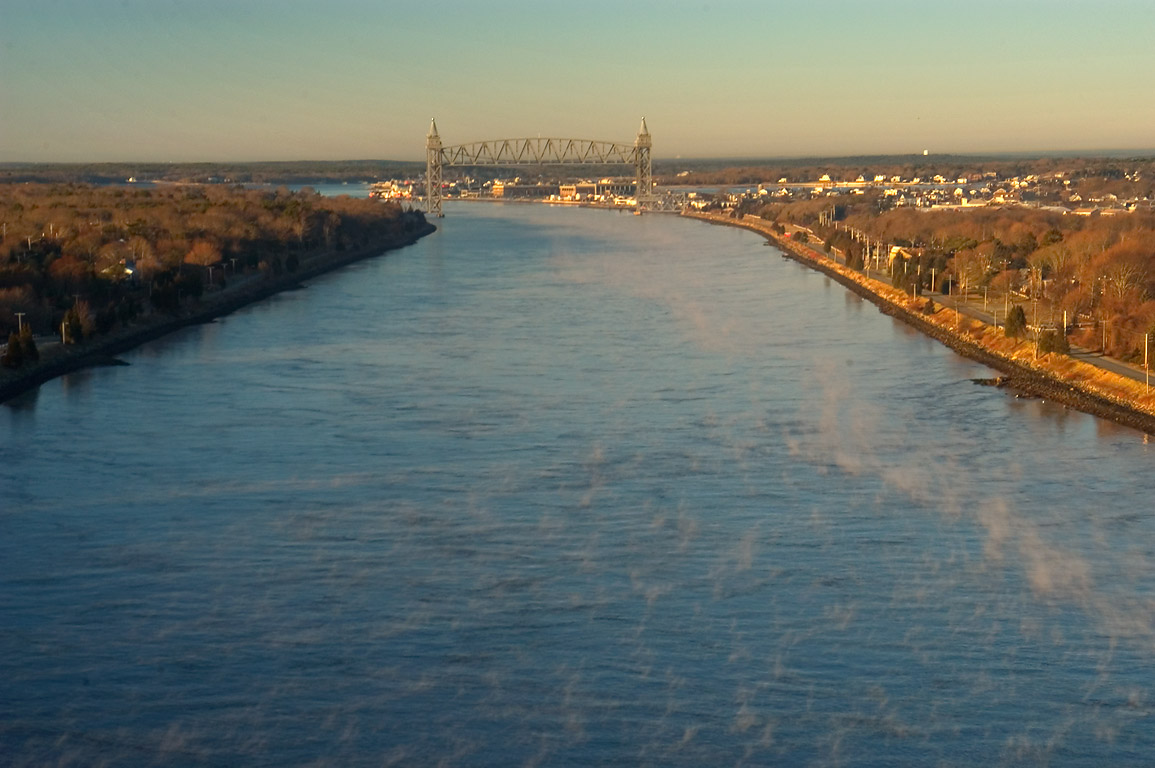 Cape Cod Canal and Railroad Bridge, view from Bourne Bridge. Bourne, Massachusetts