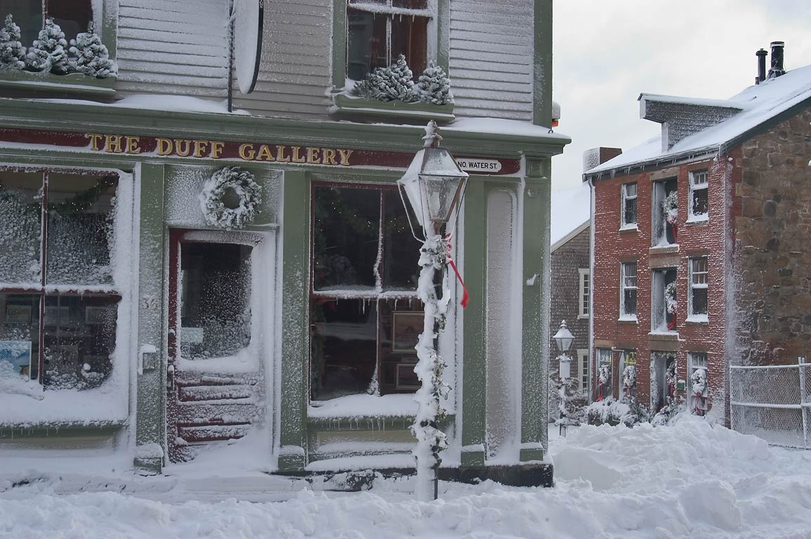 The Duff Gallery on Water St. after snowfall, at morning. New Bedford, Massachusetts