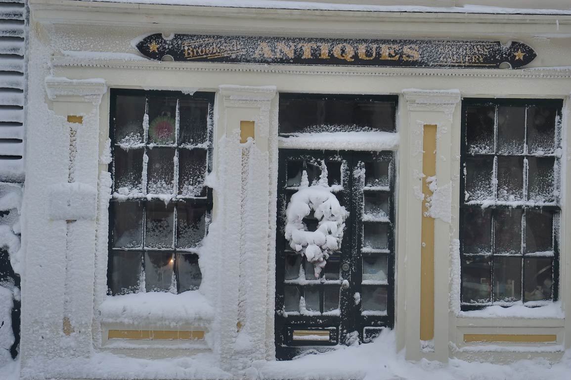 Brookside Antiques Gallery on Water St. after...at morning. New Bedford, Massachusetts