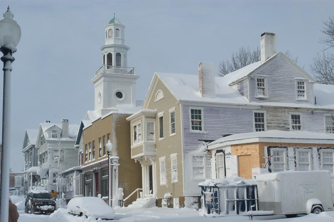Area of William St. after snowfall. New Bedford, Massachusetts