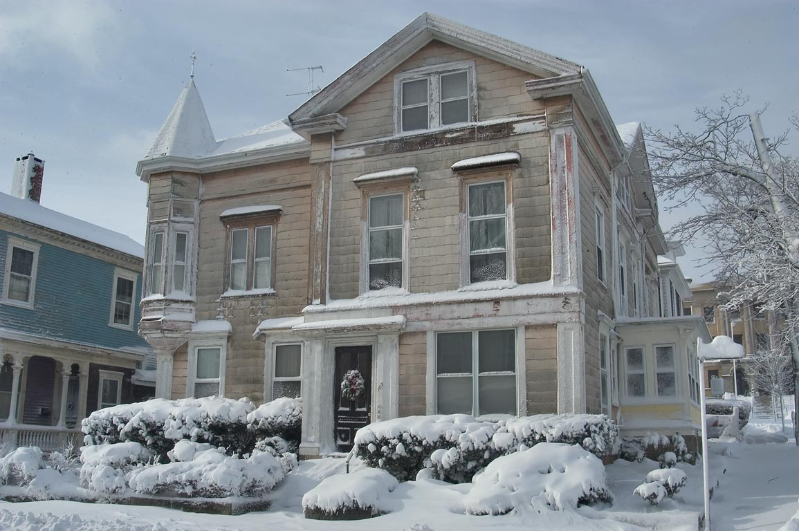A house in the area of William St. after snowfall. New Bedford, Massachusetts