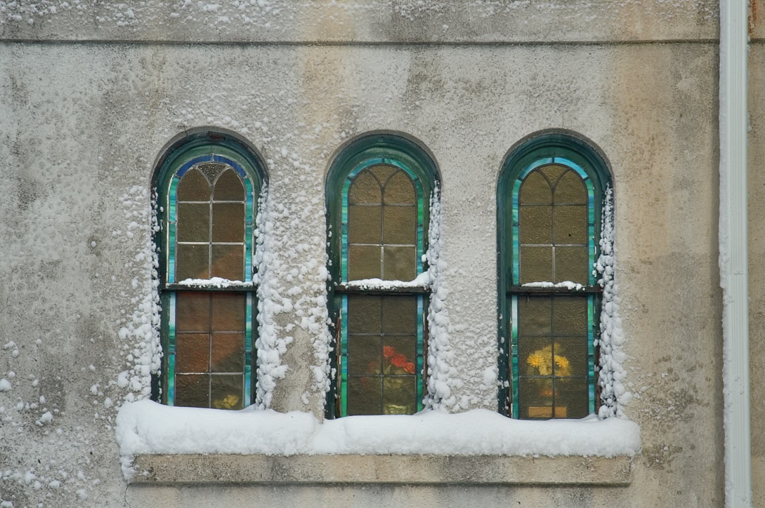 A window of Bethel A. M. E. Church after snowfall. New Bedford, Massachusetts