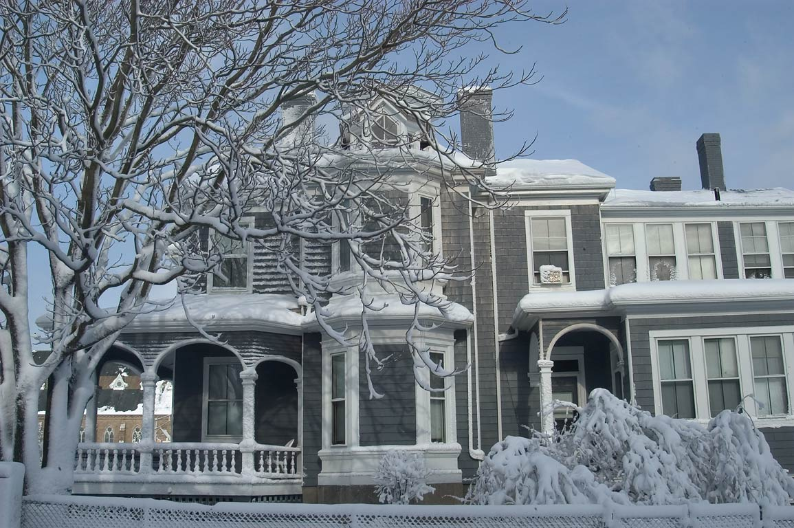 A house on Mill Street after snowfall. New Bedford, Massachusetts