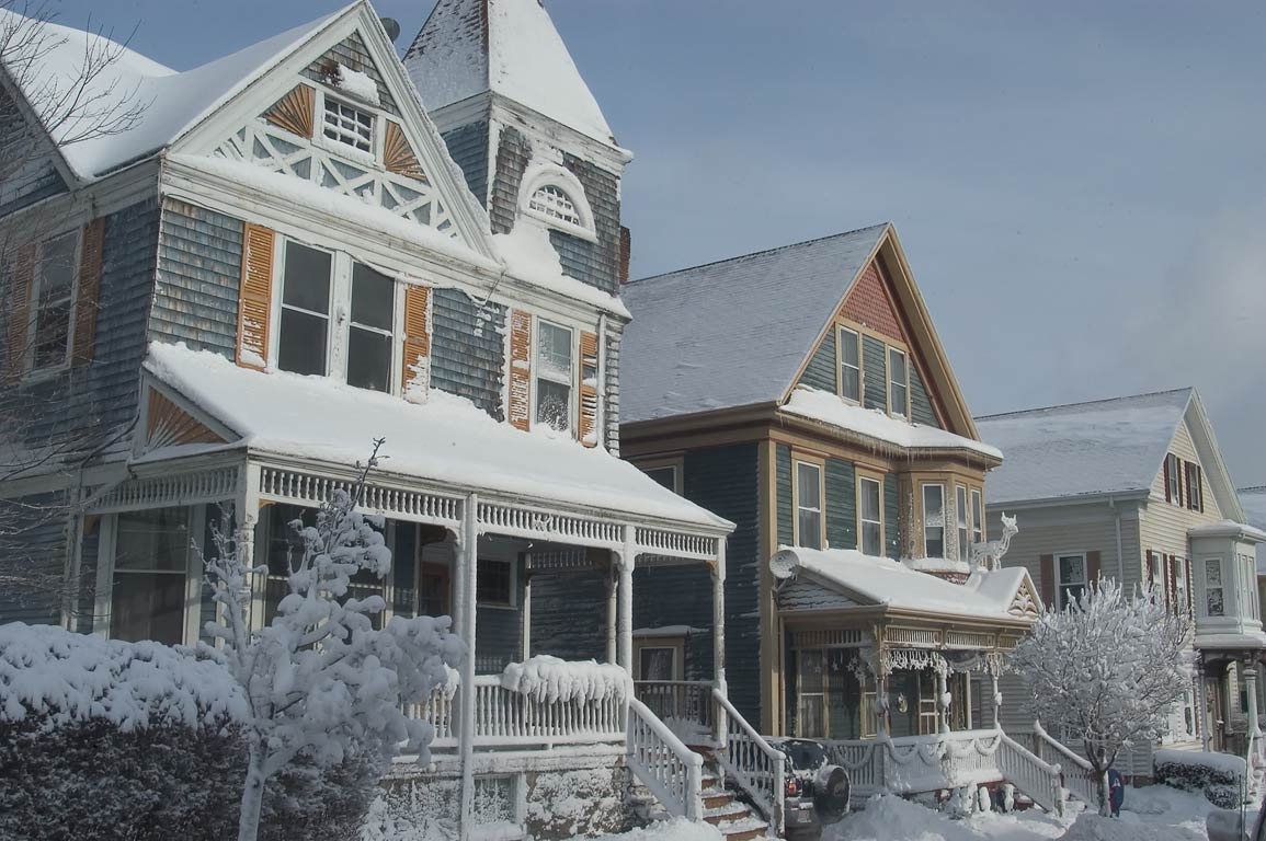Houses on Mill St. after snowfall. New Bedford, Massachusetts