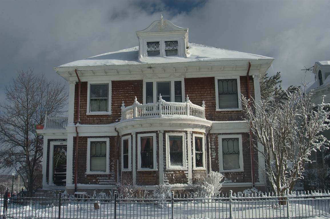 A house in the area of Summer St. after snowfall. New Bedford, Massachusetts