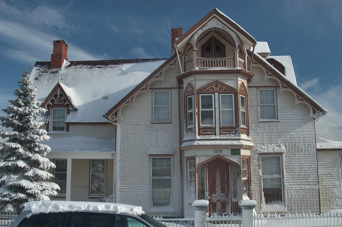 A house at Pleasant Street after snowfall. New Bedford, Massachusetts